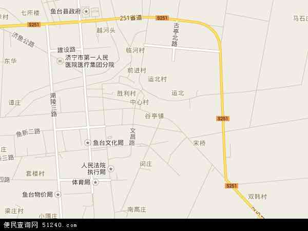 中国山东省济宁市鱼台县谷亭地图(卫星地图)