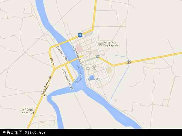 柬埔寨贡布地图(卫星地图)