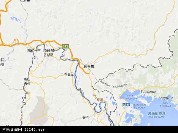 中国吉林省延边朝鲜族自治州珲春市近海地图