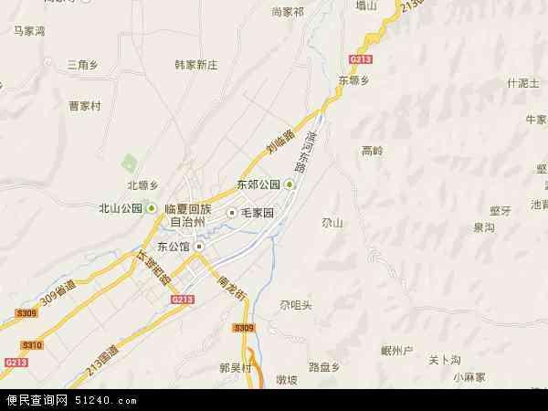中国甘肃省临夏回族自治州临夏市地图(卫星地图)
