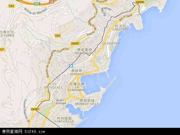 摩纳哥地图 - 摩纳哥卫星地图
