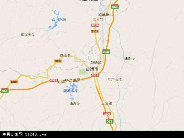 中国云南省曲靖市地图(卫星地图)