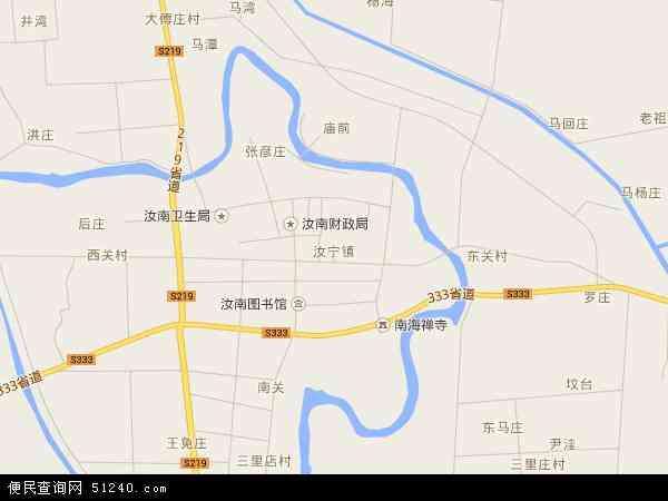 中国河南省驻马店市汝南县汝宁地图(卫星地图)