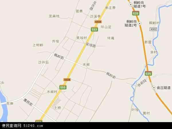 中国浙江省丽水市莲都区水阁地图(卫星地图)图片
