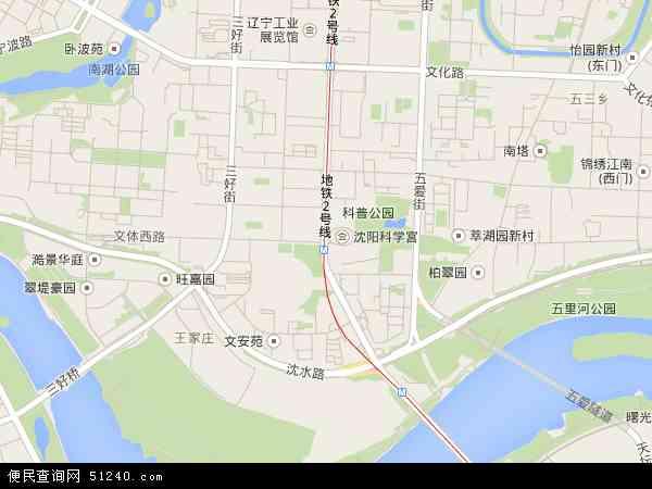 中国辽宁省沈阳市沈河区五里河地图(卫星地图)