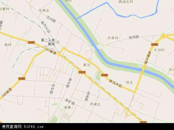 中国山东省泰安市新泰市新汶地图(卫星地图)