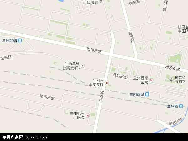 中国甘肃省兰州市七里河区西站地图(卫星地图)