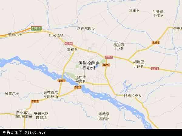中国新疆维吾尔自治区伊犁哈萨克自治州伊宁市地图