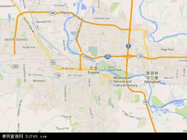 美国俄勒冈尤金地图(卫星地图)