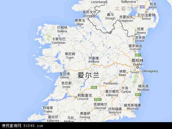 最新爱尔兰地图,2016爱尔兰地图高清版