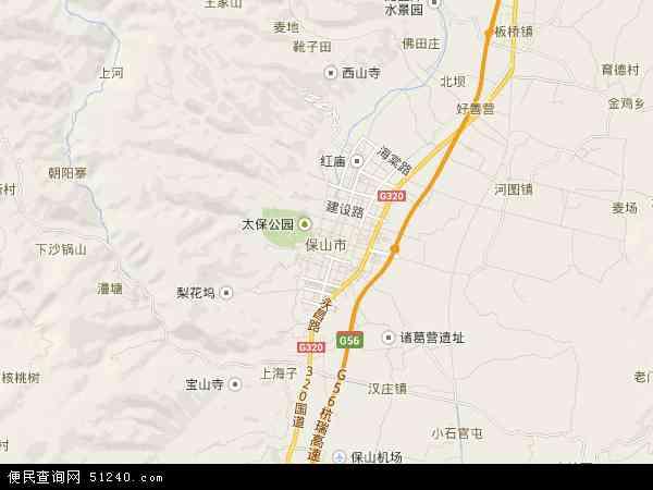 中国云南省保山市地图(卫星地图)