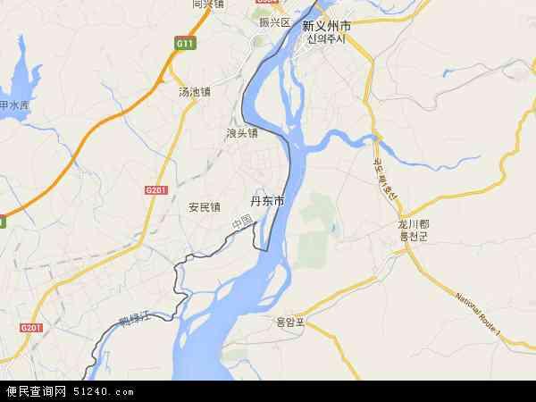 丹东市地图 - 丹东市卫星地图