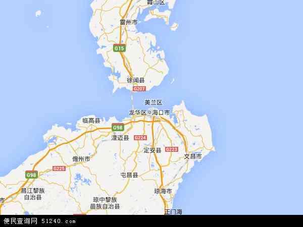 中国海南省省直辖县级行政区划儋州市地图(卫星地图)