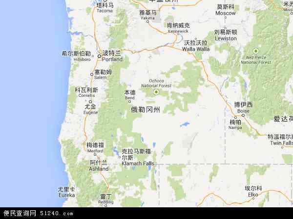 俄勒冈地图 - 俄勒冈卫星地图