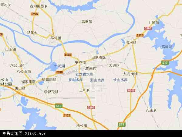 中国安徽省淮南市地图(卫星地图)