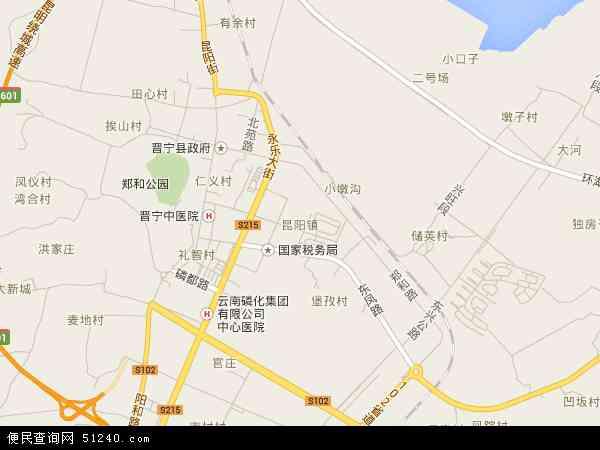 中国云南省昆明市晋宁县昆阳地图(卫星地图)