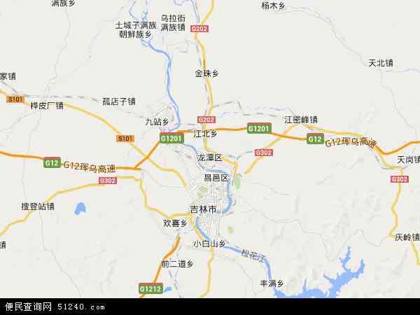 中国吉林省吉林市龙潭区龙华地图(卫星地图)
