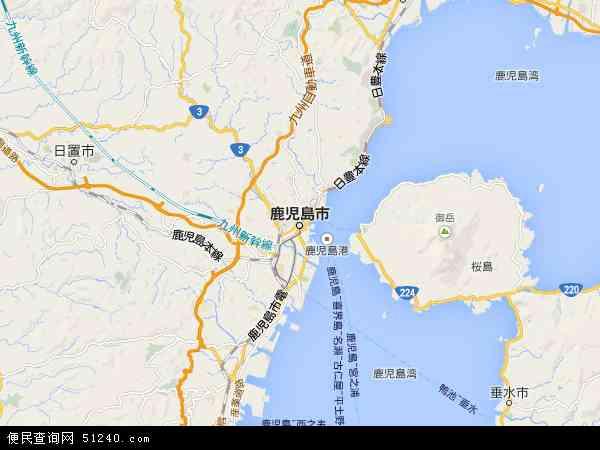 日本鹿儿岛地图(卫星地图)