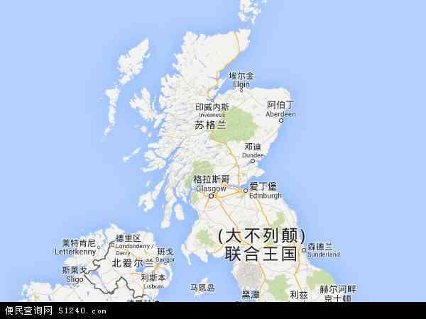 英国苏格兰地图(卫星地图)