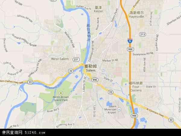 美国俄勒冈塞勒姆地图(卫星地图)