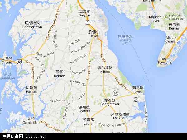 美国特拉华地图卫星地图