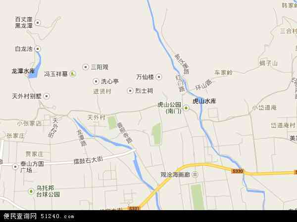 中国山东省泰安市泰山区泰前地图(卫星地图)