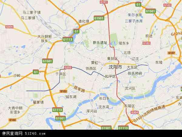 中国辽宁省沈阳市铁西区地图(卫星地图)
