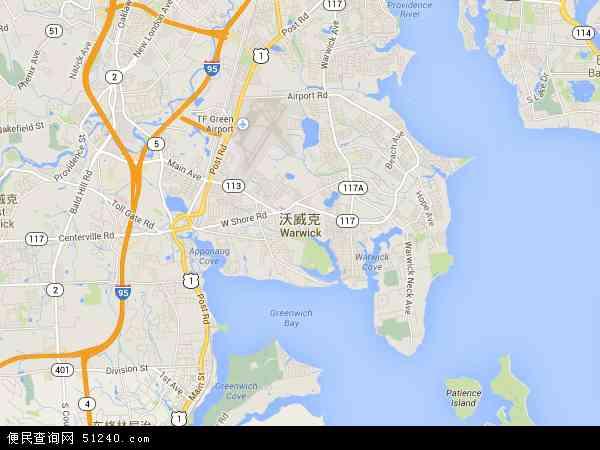 美国罗德岛沃威克地图(卫星地图)