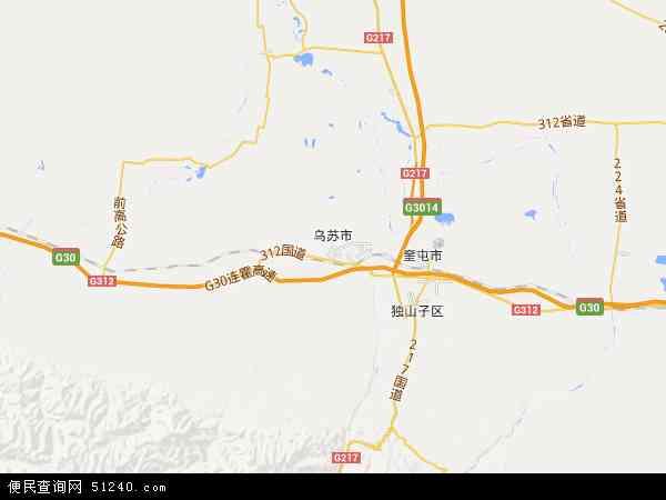 中国新疆维吾尔自治区塔城地区乌苏市地图(卫星地图)