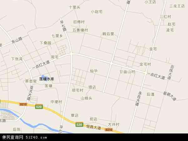 中国浙江省金华市浦江县仙华地图(卫星地图)