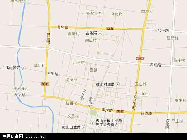 中国山东省济宁市微山县夏镇地图(卫星地图)