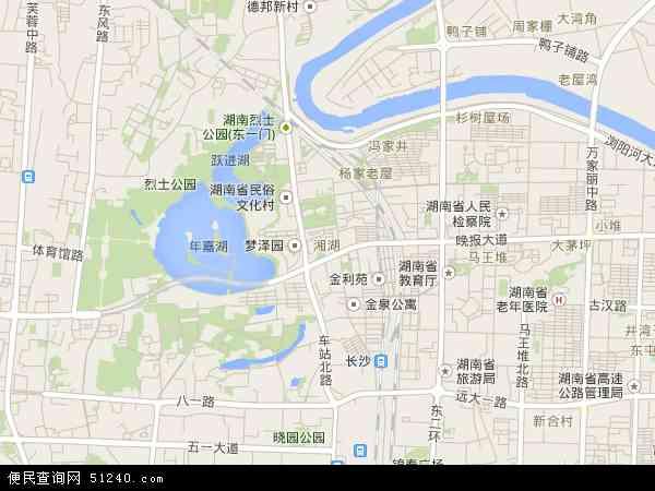 中国湖南省长沙市芙蓉区湘湖地图(卫星地图)图片