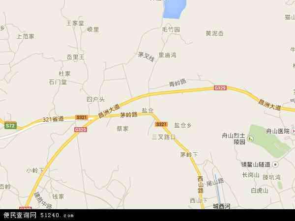 中国浙江省舟山市定海区盐仓地图(卫星地图)