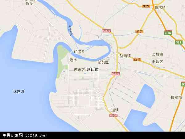 中国辽宁省营口市地图(卫星地图)