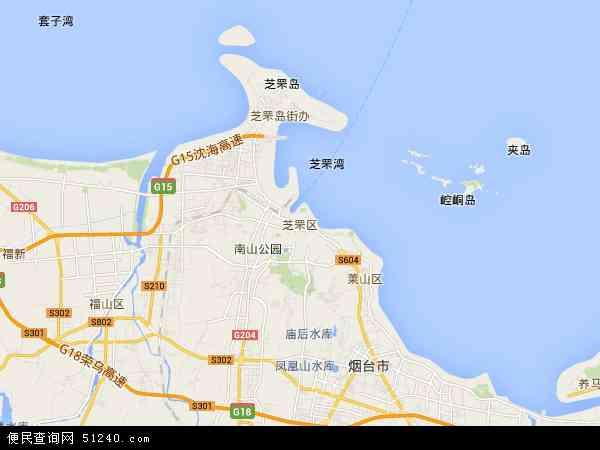 中国山东省烟台市芝罘区地图(卫星地图)