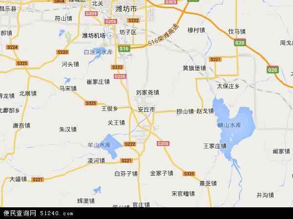 中国山东省潍坊市安丘市地图(卫星地图)