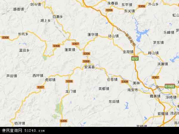 中国福建省泉州市安溪县地图(卫星地图)