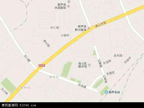 中国辽宁省葫芦岛市连山区渤海地图(卫星地图)