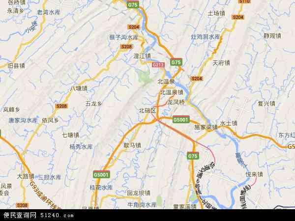 北碚区地图 - 北碚区卫星地图
