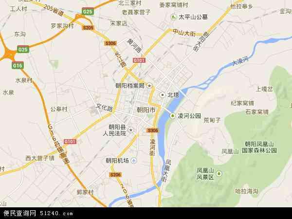 中国辽宁省朝阳市地图(卫星地图)