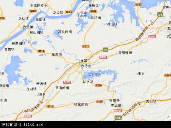 赤壁市卫星地图