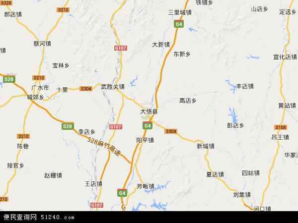 大悟县地图 - 大悟县卫星地图