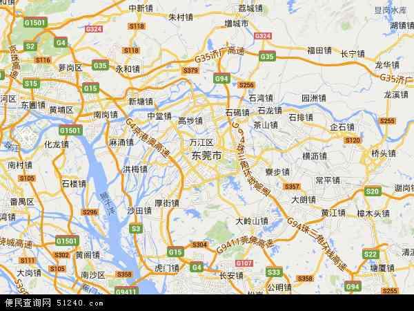 中国广东省东莞市地图(卫星地图)