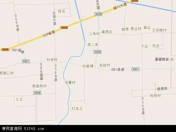 中国河南省漯河市临颍县杜曲镇地图(卫星地图)