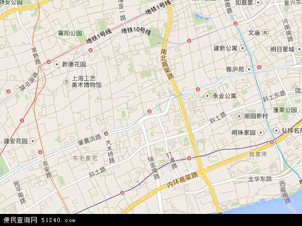 中国上海市黄浦区打浦桥地图(卫星地图)
