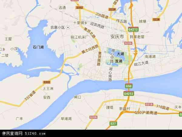 中国安徽省安庆市大观区地图(卫星地图)