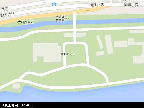 中国山东省济南市历下区大明湖地图(卫星地图)
