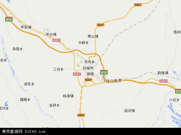 中国吉林省白城市洮北区地图(卫星地图)
