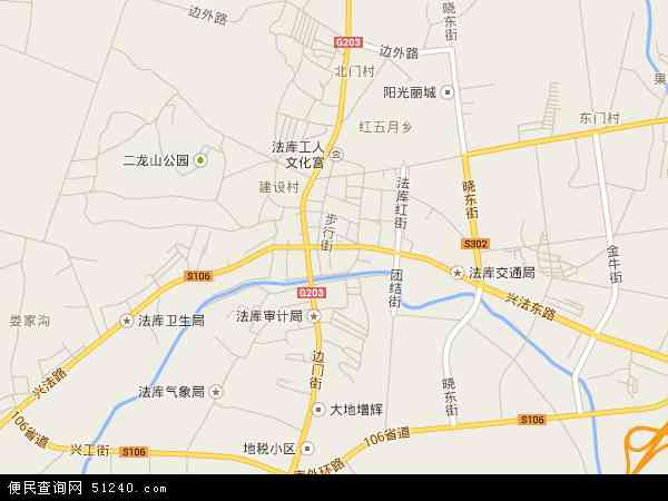中国辽宁省沈阳市法库县法库镇地图(卫星地图)图片
