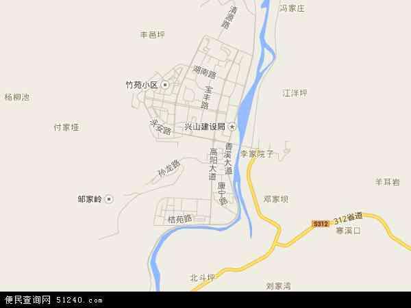 中国湖北省宜昌市兴山县古夫镇地图(卫星地图)